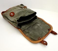 Vintage Military Bag Linen Pouch Green Leather Retro