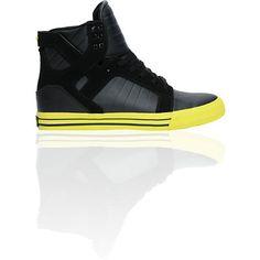 Supra Skytop Black Action Leather & Neon Yellow Shoe $99.95