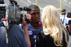 Ole Miss WR Laquon Treadwell interviews with ESPN during the 2015 Grove Bowl.