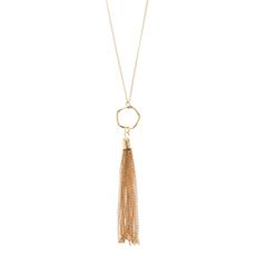 Gold Tassel Pendant Necklace