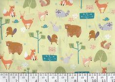 Wonderful Woodlands fabric animals fox raccoon by fabricfrantic