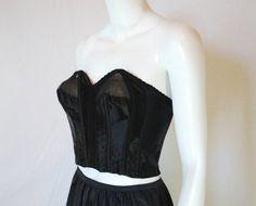 1950s Black Satin Longline Strapless Bra 36 B