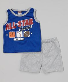 Loving this Blue 'All-Star Champs' Tank & Gray Shorts - Infant on #zulily! #zulilyfinds