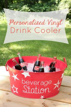 Personalized Vinyl Beverage Cooler from Create Craft Love featured on The Inspiration Network.