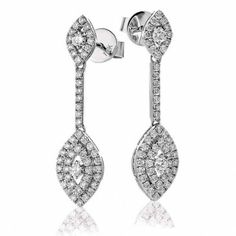 Beautiful diamond earrings at Lloyds. Diamond Marquise Shape Drop Earrings 0.80ct in 18k White Gold.