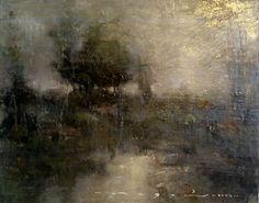 """Angel Angelov-Tonalist Landscape-72A-8""""X10""""-Oil on Board"""
