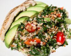 Zesty Barley Quinoa Kale Salad with Chicken
