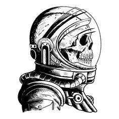 'beautiful skull astronaut' by Gnudrus Space Drawings, Dark Art Drawings, Pencil Art Drawings, Art Drawings Sketches, Tattoo Sketches, Tattoo Drawings, Astronaut Drawing, Astronaut Tattoo, Astronaut Helmet