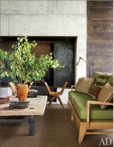 Concrete fireplace detail - simple color scheme.
