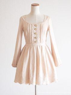 LIZ LISA Winter Beige pink Wool Dress OP Floral Lolita Hime gyaru Size0 Japan #LIZLISA #PeplumTunic #Party