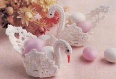ViNTAGE 70s WEDDING DaY SWAN TaBLE DECoRATION CaNDY BaSKET 9.5X 6CMs Other Matching Items Listed Rare Crochet Pattern PdF Instant Download