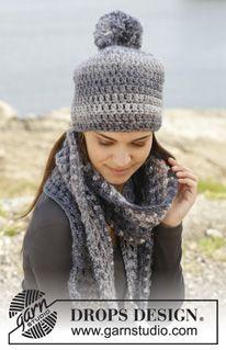 """Bonnet et écharpe DROPS au crochet, en brides et point ajouré, en """"Eskimo"""". ~ DROPS Design"""