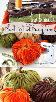 How to Make Plush Velvet Pumpkins.  Full tutorial on how to make + video!~T~ So pretty for Thanksgiving decor.