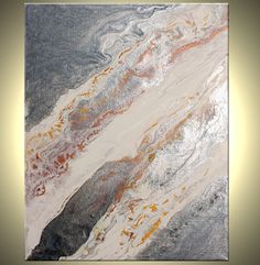 Original SILVER and White FRAMED Painting Metallic by LFAStudios