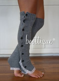 Boot Cozies in Grey: Lace and Button Leg Warmers and Boot Socks