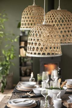 A natural bamboo woven shade with a lattice design. This Scandinavian inspired shade from I B laursen is simple and stylish and come with a white Bamboo Pendant Light, Bamboo Light, Bamboo Lamps, Bamboo Table, Boho Lighting, Basket Lighting, Lighting Design, Woven Shades, Bamboo Shades