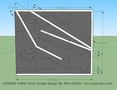 Skema box SPeaker WONDER HORN 18 inch Single   ARA AUDIO Subwoofer Box Design, Speaker Box Design, Monitor Speakers, Diy Speakers, Speaker Plans, Electronics Projects, Horns, Audio, How To Plan