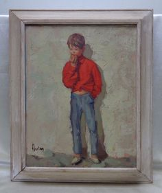 Framed French Vintage Signed Florian Boy Eating Apple Oil Painting on Canvas #Realism