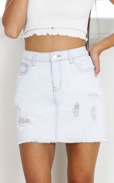 Love Me Back denim skirt in light blue SHOWPO Fashion Online