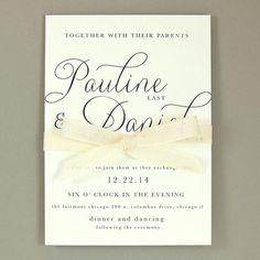 Pauline Suite - Modern Elegant Wedding Invitation - Classic Simple Ribbon Invite - Customizable Wedding Invitation - Sample