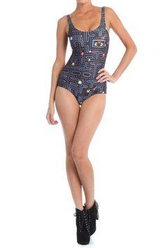 3dc89c6eb5e Pacman Onesie Swim Geek Chic Fashion