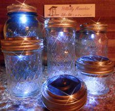10   SOLAR LIDS, Light REDNECK WINE GLASSES, FRUIT JARS,MASON JARS  Crafts