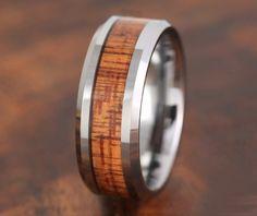 Tungsten Koa Wood Ring 8MM  Wedding Band by Silvershowroom on Etsy, $60.00