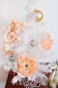 Blushing Peony DIY Christmas Ornaments - Adding flower crafts to your Christmas decor never looked so stunning.
