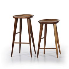 Walnut Bar Stool - These mid-century modern bar stools in solid black walnut are available at counter or bar height.