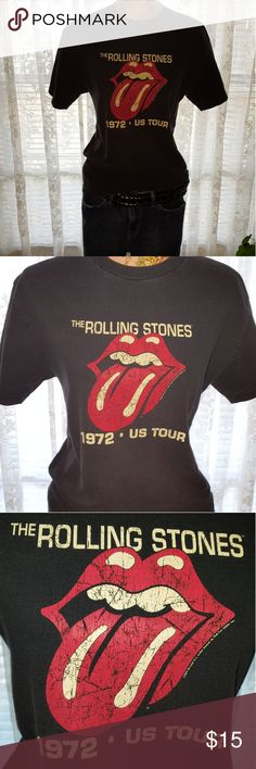 """Vintage Rolling Stones T-Shirt This is a super cool vintage Rolling Stones t-shirt. If you are into vintage clothes like me you know the importance of the not new look. This is PERFECTLY faded and worn in but with no stains or tears. I do not know how old this shirt actually is but I have had it about twenty years. LOVE!!! 😎  Measurments taken lying flat. Shoulder to shoulder: 19"""" Armpit to armpit: 18 1/2"""" Length: 26"""" Smoke free/pet free home Alstyle Apparel and Activewear Tops Tees - Short…"""