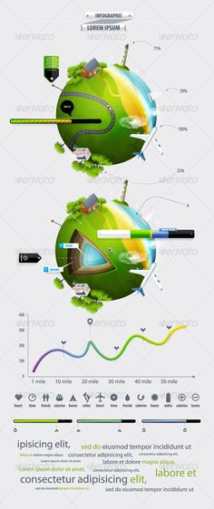 Beautiful, creative and cheap organic elements of infographics with the ball planet eart