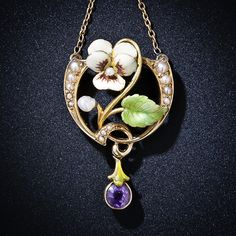 An enamel, pearl and amethyst necklace, c.1900, in form of a pansy, which signifies 'thoughts'/'think of me' in the symbolic language of flowers.