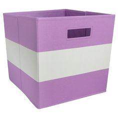 Fabric Cube Storage Bin Purple Stripe - Pillowfort™ target.com