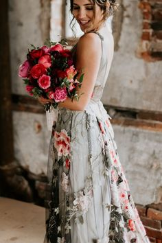 Claire Pettibone colorful floral embroidered black tulle Raven wedding dress with open back and long train lined in sequins and ivory silk. Pretty Wedding Dresses, Custom Wedding Dress, Wedding Dresses Plus Size, Colored Wedding Dresses, Plus Size Wedding, Cheap Wedding Dress, Wedding Gowns, Silver Wedding Dresses, Wedding Attire