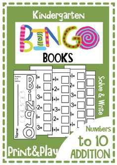 FREE Kindergarten Bingo Books Addition Sums Print and Play Games