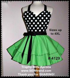 Flirty Apron # 4129 - Black and white polka dots over apple green circular style retro apron