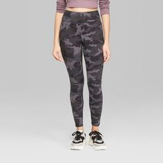 fabd049884c7a Women's Camo Print High-Waist Leggings - Wild Fable Black/Gray XL, Green