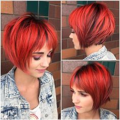 This Choppy Red Graduated Bob with Fringe Bangs and Black Shadow Roots is a great modern cut for someone seeking a chic versatile style. This textured bob can be worn disheveled, wavy, or polished and sleek, with a blowout and flatiron. Its a great style to easily take you from work to play. The bright red color and shadow roots give this bob a sexy modern twist, and adds definition. Styling tips for this choppy red bob and other similar short hairstyles and hair color ideas