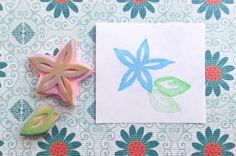 Star flower stamp, blossom stamp, hand carved stamp, handmade flower stamp, plant stamp, gift stamp, letterbox stamp, card stamp, tag stamp