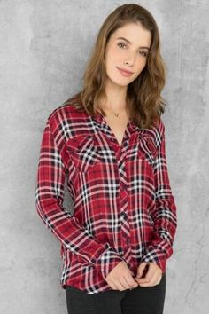 Austin Plaid Buttoned Blouse at Francesca's in Market Street - The Woodlands