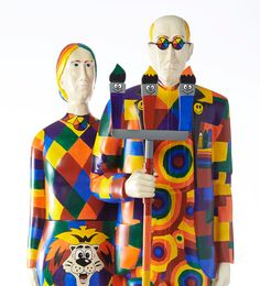 """Overalls All Over: A Grant Wood Experience - """"American Color Explosion Gothic"""" American Gothic House, Grant Wood American Gothic, American Gothic Parody, Montage Art, Artist Grants, Mona Friends, Art Institute Of Chicago, Assemblage Art, Naive Art"""