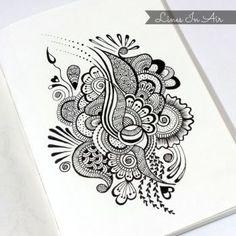 Design by linesinair on deviantart henna drawings, doodle drawings, doodle art, mandala doodle Henna Drawings, Zentangle Drawings, Cool Art Drawings, Pencil Art Drawings, Zentangle Patterns, Zentangles, Doodle Art Drawing, Mandala Drawing, Mandala Tattoo