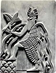 Enki (also known as Ea, Enkig, Nudimmud, Ninsiku) was the Sumerian god of wisdom, fresh water, intelligence, trickery and mischief, crafts, magic, excorcism, healing, creation, virility, fertility, and art. Iconography depicts him as a bearded man wearing a horned cap and long robes as he ascends the Mountain of the Sunrise; flowing streams of water run from his shoulders, emphasizing his association with life-giving water.
