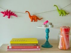 Dinosaur Garland in Neon Bedroom Decor