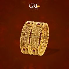 Gold Antique Bangles from GRT Jewellers, Gold Bangle Collections from GRT Jewellers, Latest Gold Bangle Designs from GRT. Gold Ring Designs, Gold Bangles Design, Gold Earrings Designs, Gold Jewellery Design, Gold Jewelry, Gold Necklace, Amethyst Jewelry, Pandora Jewelry, Indian Jewelry Sets