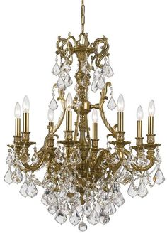 aca58e0bc157 Crystorama Ornate Aged Brass Chandelier Accented with Hand Cut Crystal 8  Lights - Aged Brass -