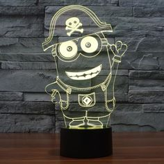 New Minion Pattern Colorful 3D LED Lamp