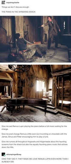 The Marauders - Remus Lupin and the piano Harry Potter Marauders, Harry Potter Jokes, Harry Potter Fandom, Harry Potter World, The Marauders, Hogwarts, Slytherin, Drarry, Jily