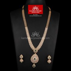 CZ Long Haar Set With Emerald Highlight Bridal Jewelry, Gold Jewelry, India Jewelry, Diamond Jewellery, Trendy Jewelry, Gold Ruby Necklace, Locket Design, Necklace Online, Jewelry Model