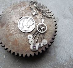 Gear Necklace Tribal Recycled Watch Gear by amechanicalmind
